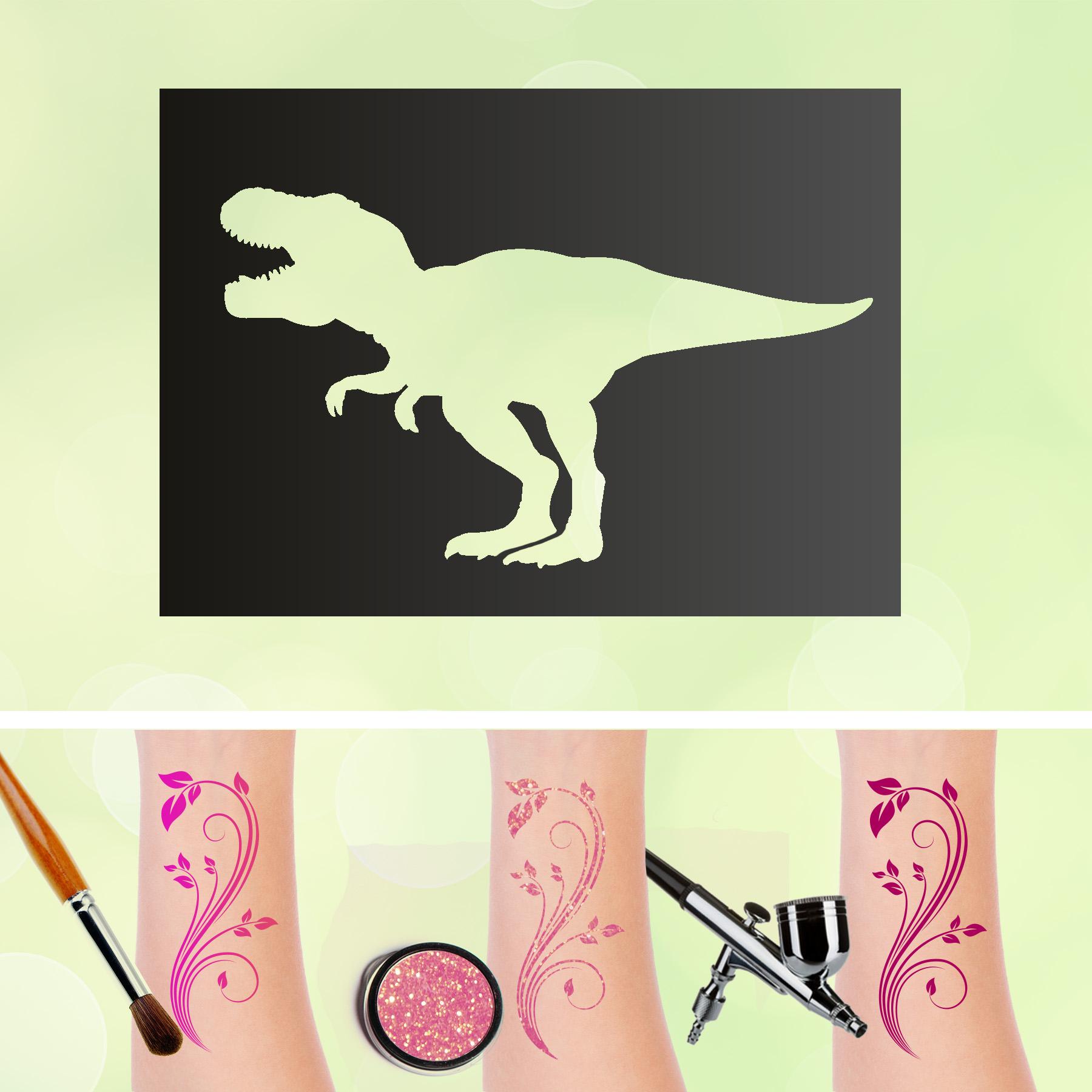 Tattoo Schablone T-Rex Tyrannosaurus Dinosaurier Dino Selbstklebend Kinder Schminken Airbrush