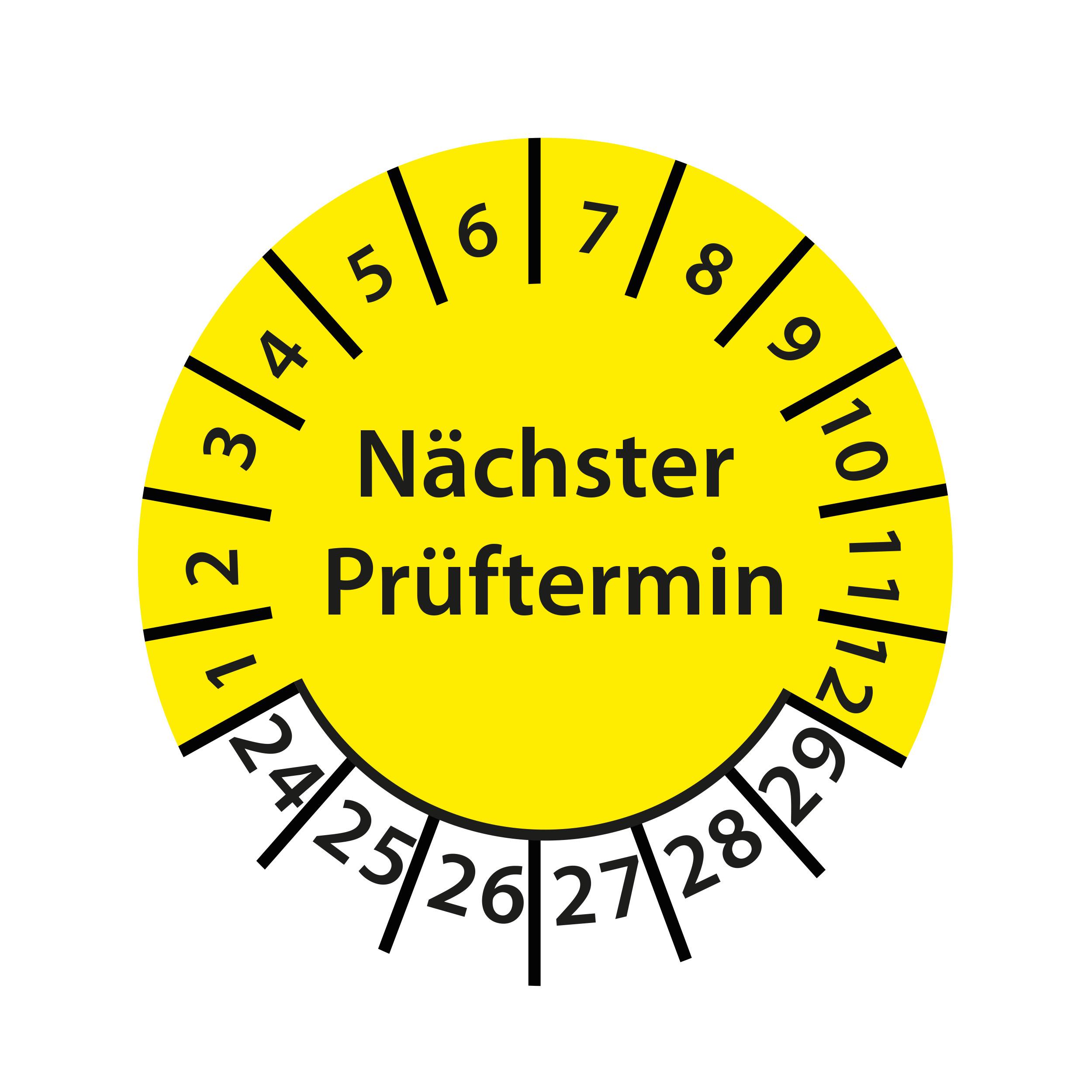 Prüfplakette Nächster Prüftermin 2024-2029 Ø 30mm Rund Gelb / Blau Prüfetikett Prüfaufkleber