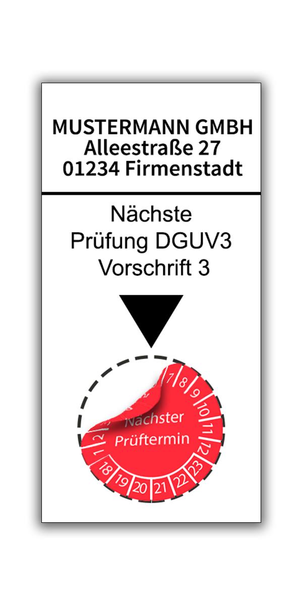 Prüfplakettenhalter mit Firmenname 4,5 cm x 9 cm