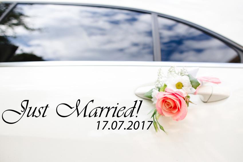Aufkleber Hochzeit Auto Just Married! mit Datum
