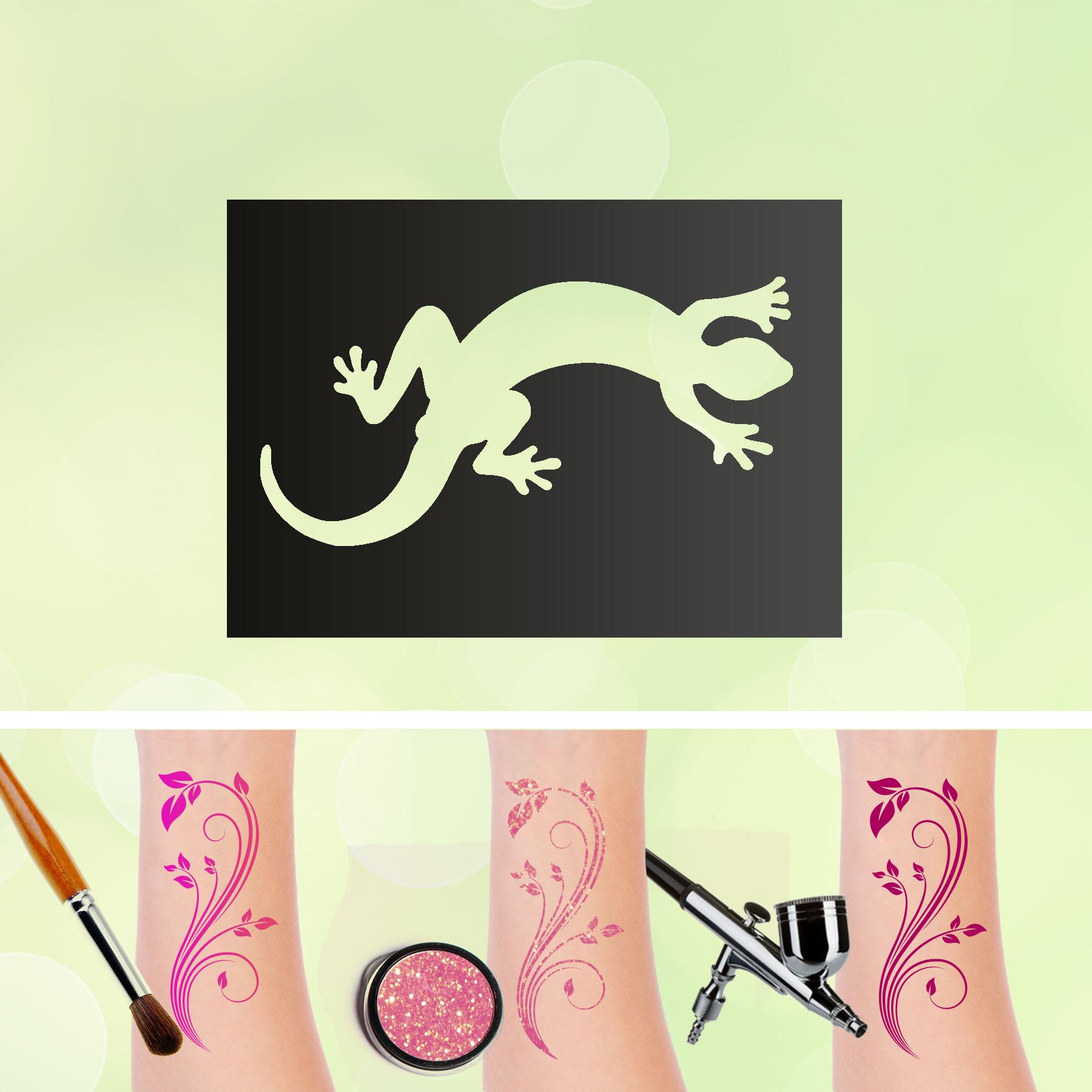 Tattoo Schablonen Gecko Selbstklebend Kinderschminken Airbrush
