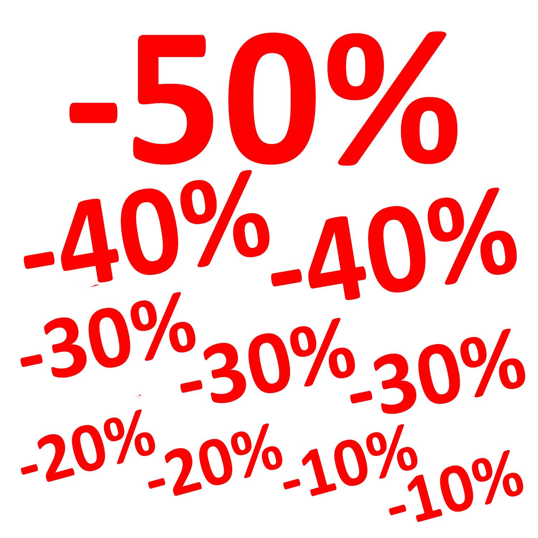 Aufkleber -50% -10% -20% -30% -40% 10er Set Prozent Sale Rabatt Reduziert Schaufenster Preis Rot