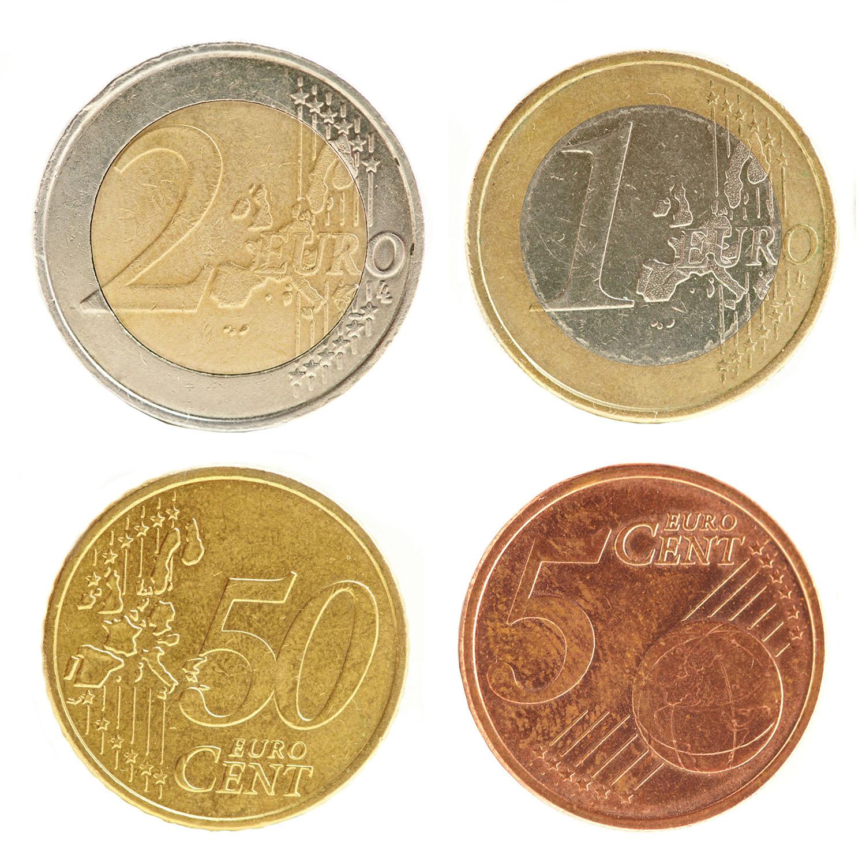 Euro Münzaufkleber Set 4 Stk. - FUN Sticker Kleingeld rund selbstklebend täuschend echt
