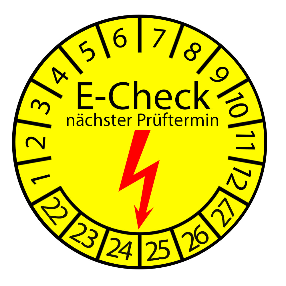 Prüfplakette E-Check nächster Prüftermin 2022-2027 Ø 20-30mm Rund Gelb Prüfetikett Prüfaufkleber