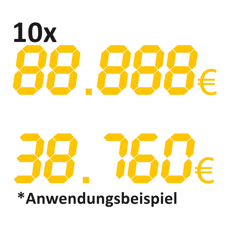 10er Pack. - Aufkleber Digitalzahl 88.888€