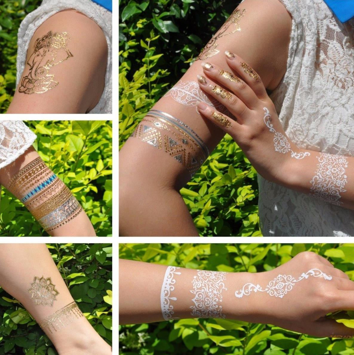 Tattoo Hauttattoo Sommer Set Metallic Look Temporäre Tattoos Gold Silber Federn