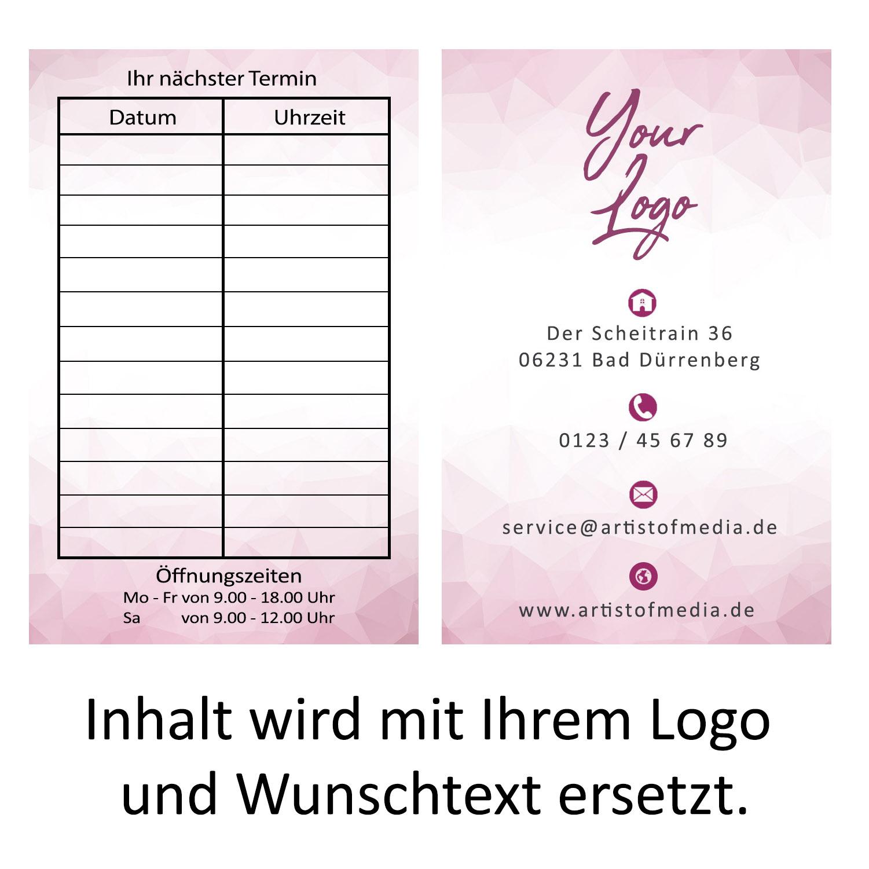 Visitenkarten individuell Fertiges Design Pink+Ihr Inhalt Bestellkärtchen Termin 350g/qm 85 x 55mm