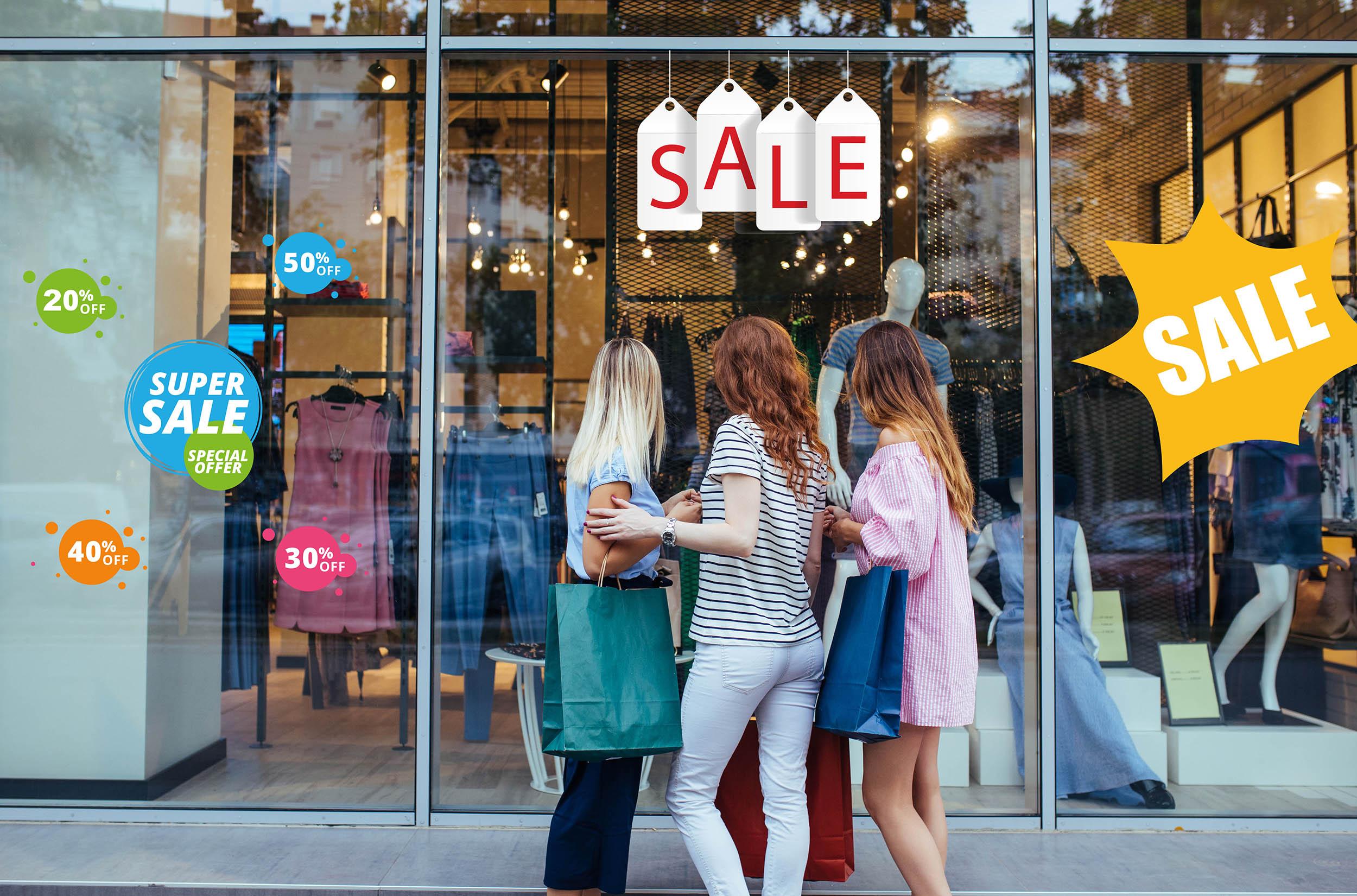 Aufkleber Sale Set Bunt 10% 20% 30% 50% 70% Super Sale Einzelhandel Schaufenster Ausverkauf Prozente