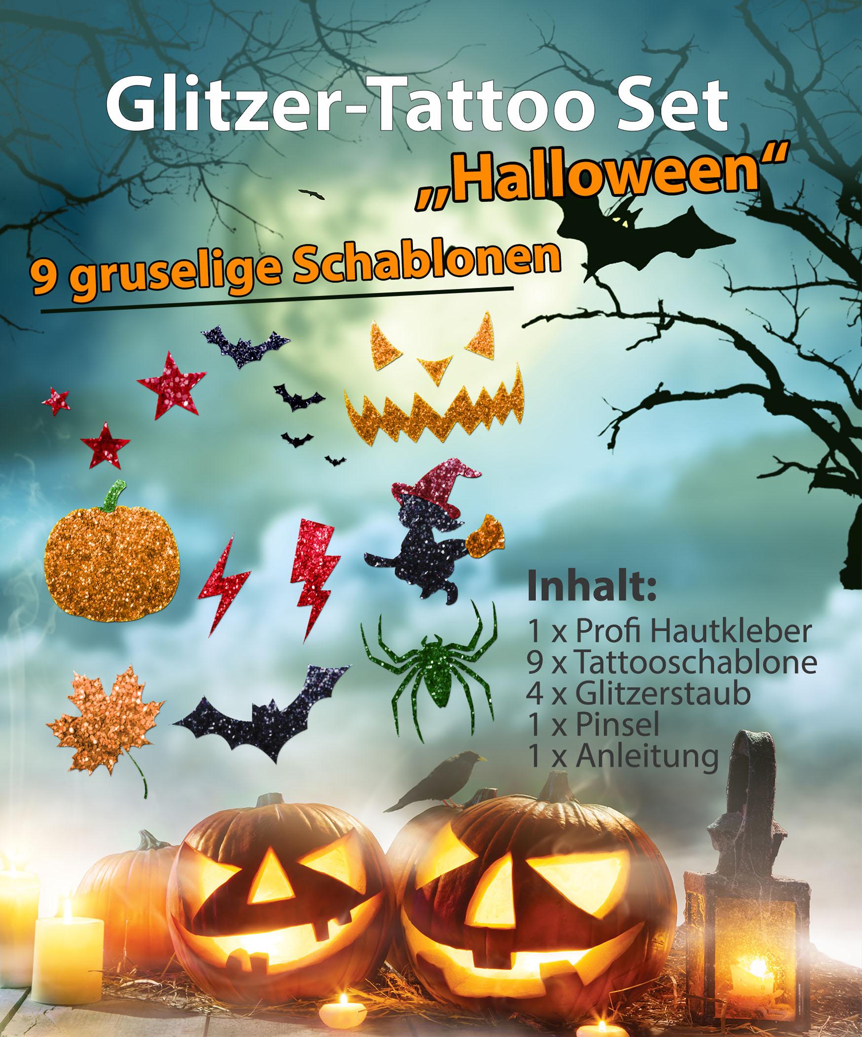 Glitzer Tattoo Set Kinder HALLOWEEN mit Profihautkleber, 1 Pinsel, 4 Glitzer, 9 Tattooschablonen