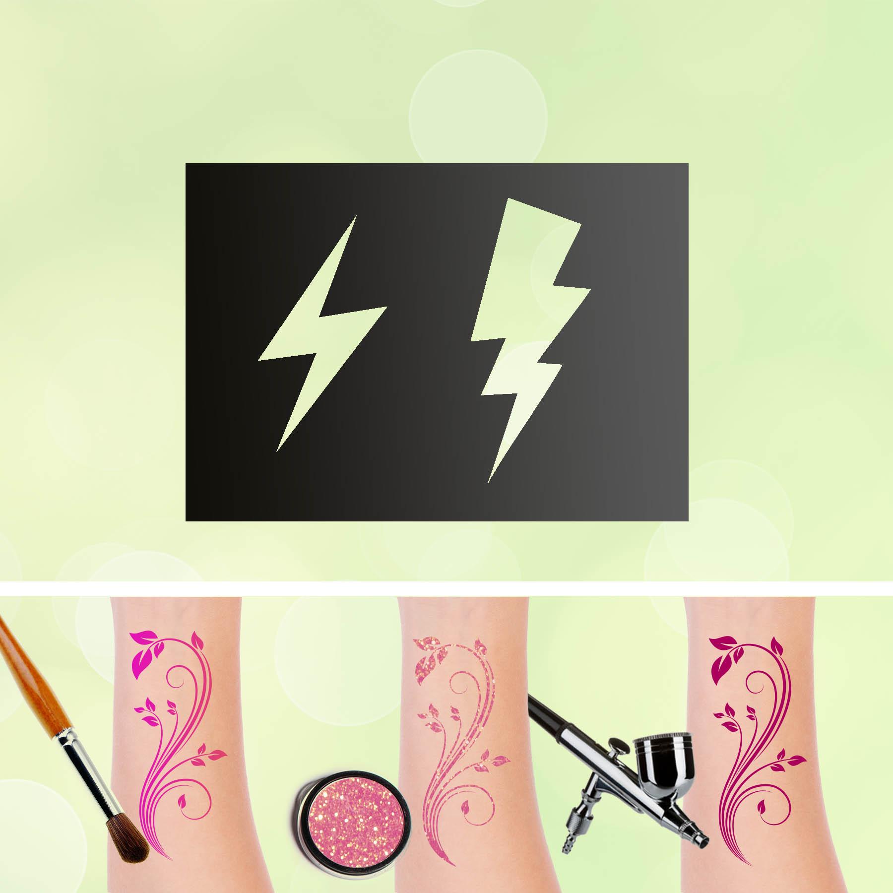 Tattoo Schablonen Blitze Selbstklebend Kinderschminken Airbrush