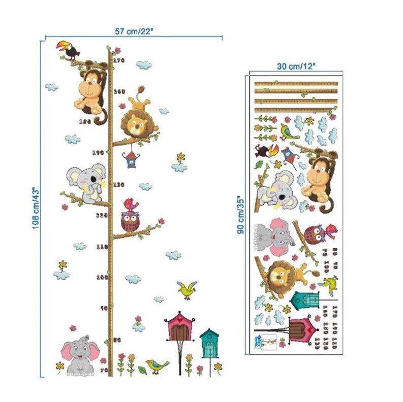 Wandtattoo Kinderzimmer - Messlatte Maßstab Tiere 70 -170 cm