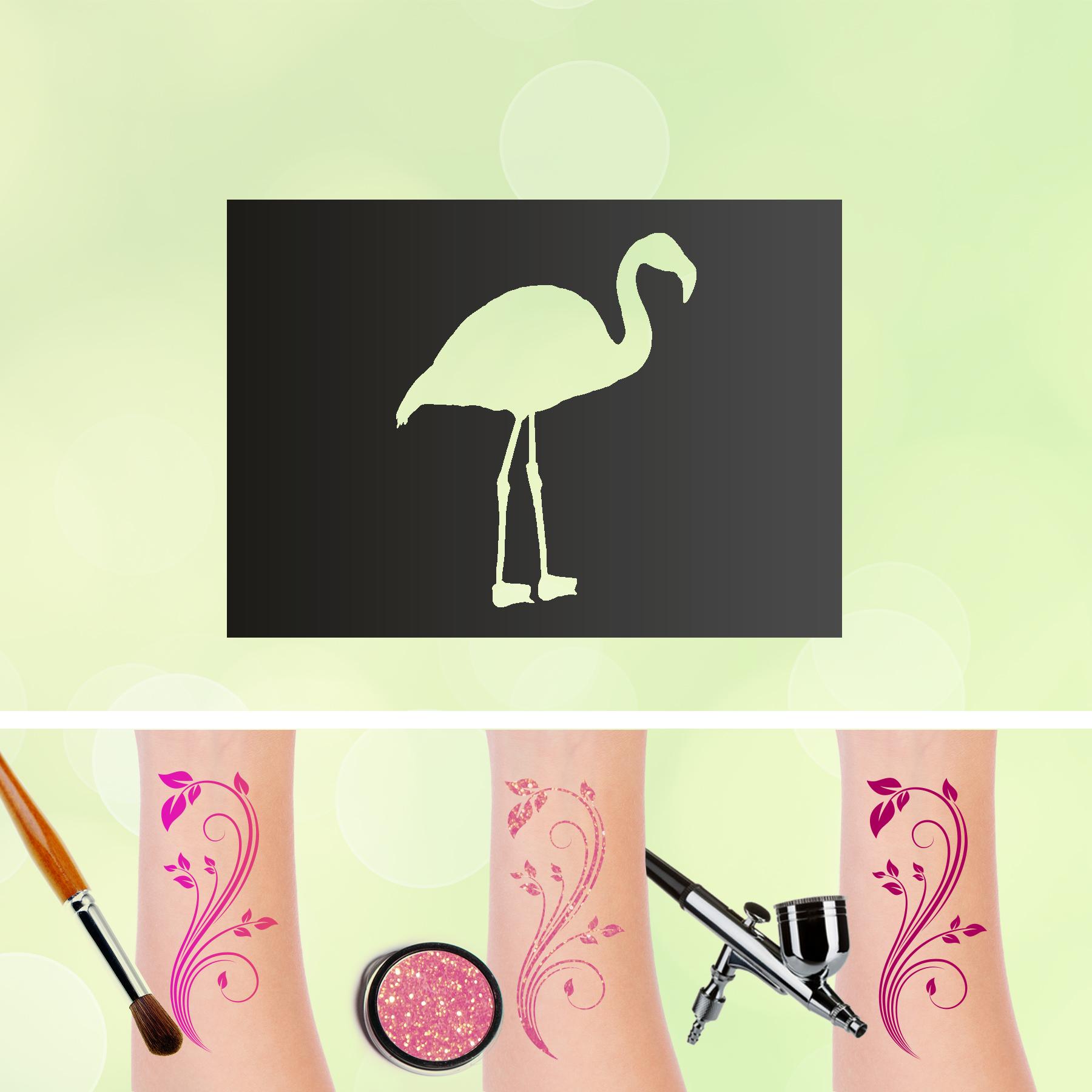 Tattoo Schablonen Flamingo Selbstklebend Kinderschminken Airbrush