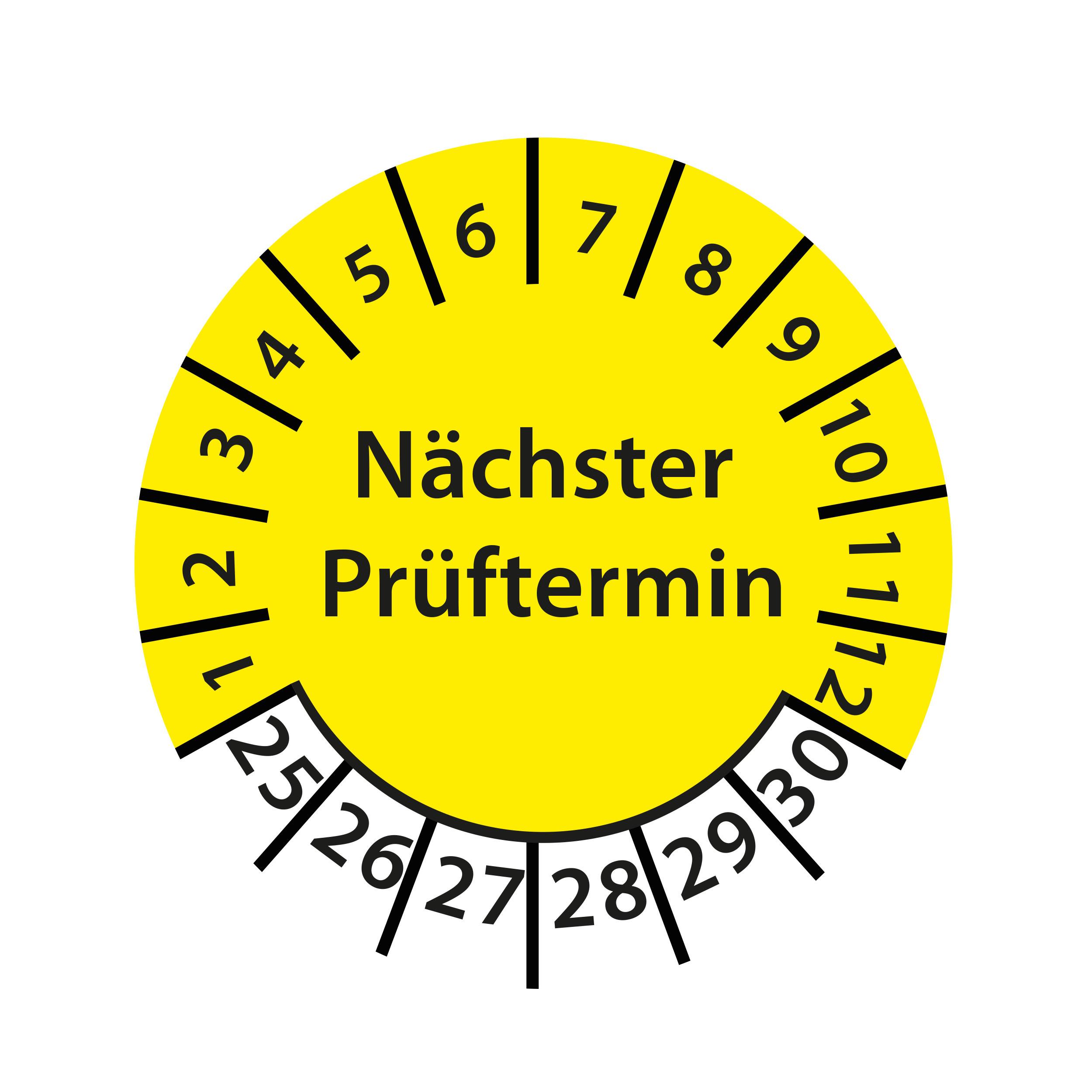 Prüfplakette Nächster Prüftermin 2025-2030 Ø 30mm Rund Gelb / Blau Prüfetikett Prüfaufkleber