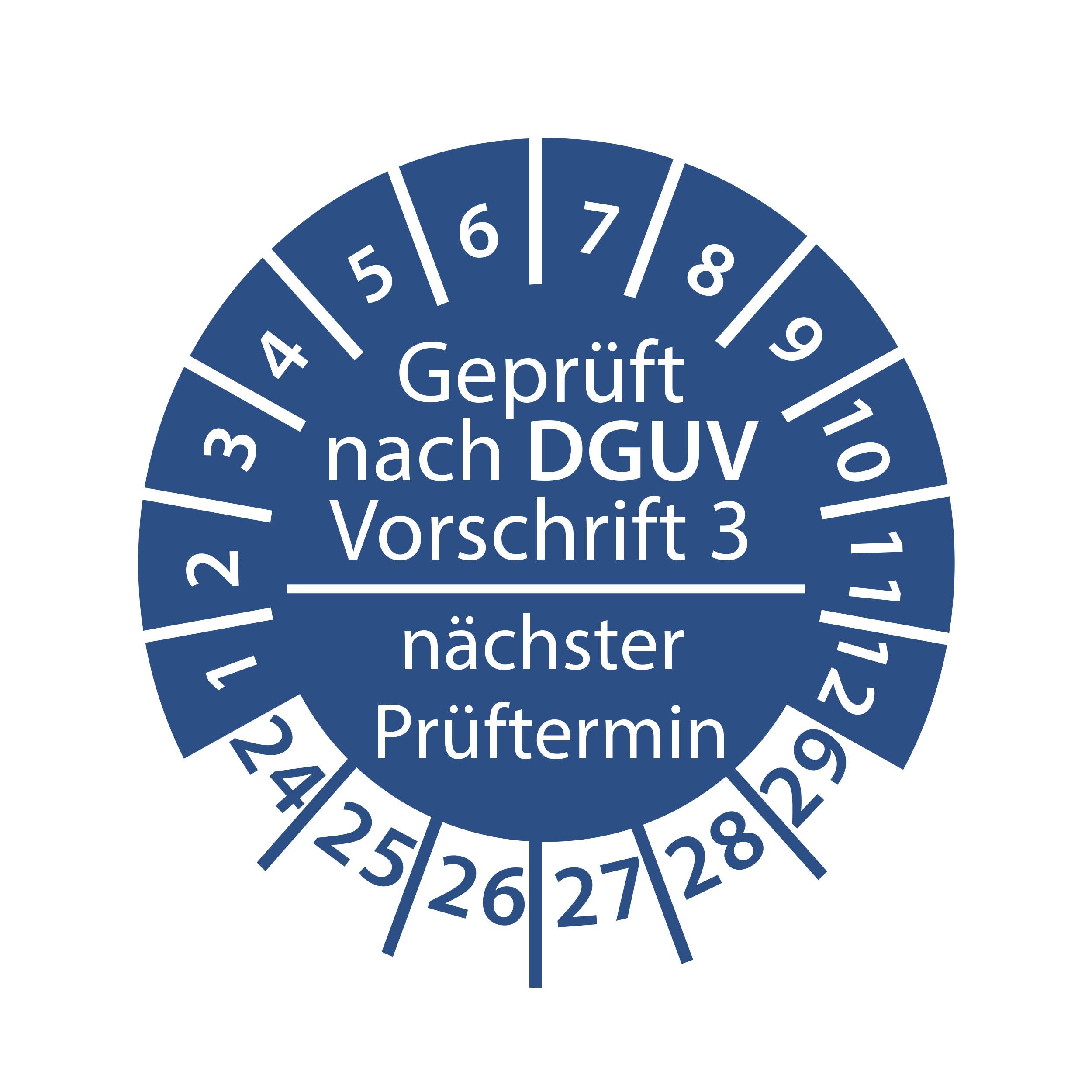 Prüfplakette geprüft nach DGUV Vorschrift 3 nächster Prüftermin 2024-2029 Ø 30mm Rund Gelb / Blau Prüfetikett Prüfaufkleber