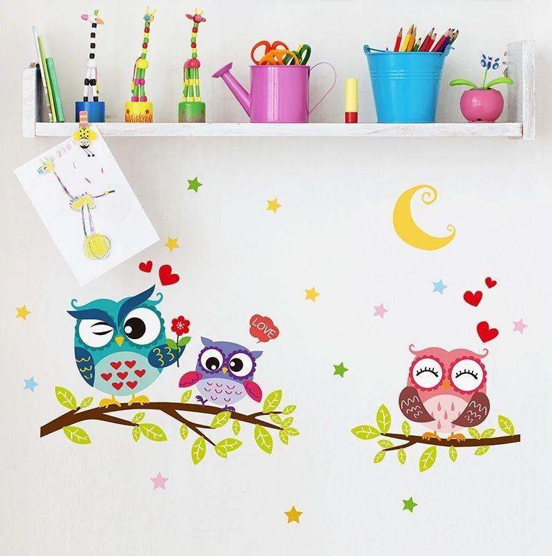 Wandtattoo süße Eulen auf Ast - Babyzimmer Kinderzimmer Wandaufkleber  ca. 64 x 43 cm