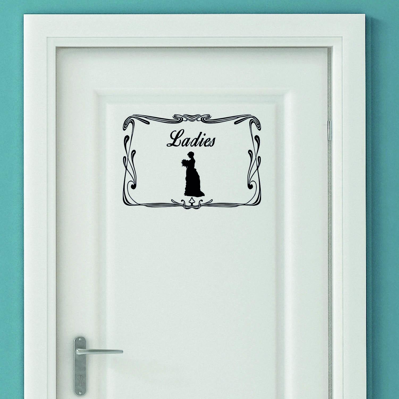 Aufkleber Türaufkleber WC Bad Ladies Damen Old Retro Frau Toilettentür Toilette Fun Sticker Wunschfa