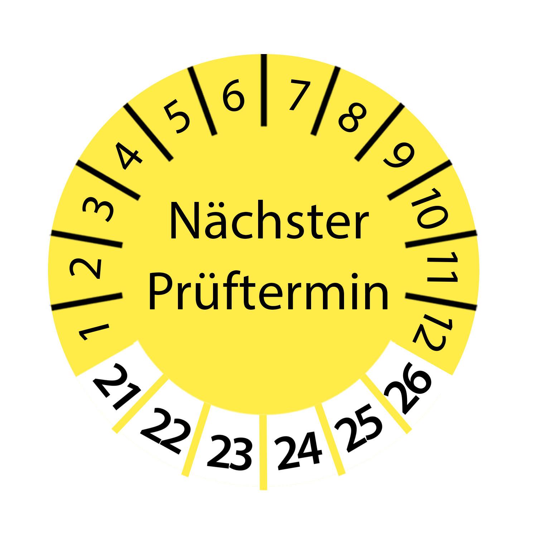Prüfplakette Nächster Prüftermin 2021 - 2026 Ø 2-3cm Rund Gelb Prüfetikett Prüfaufkleber