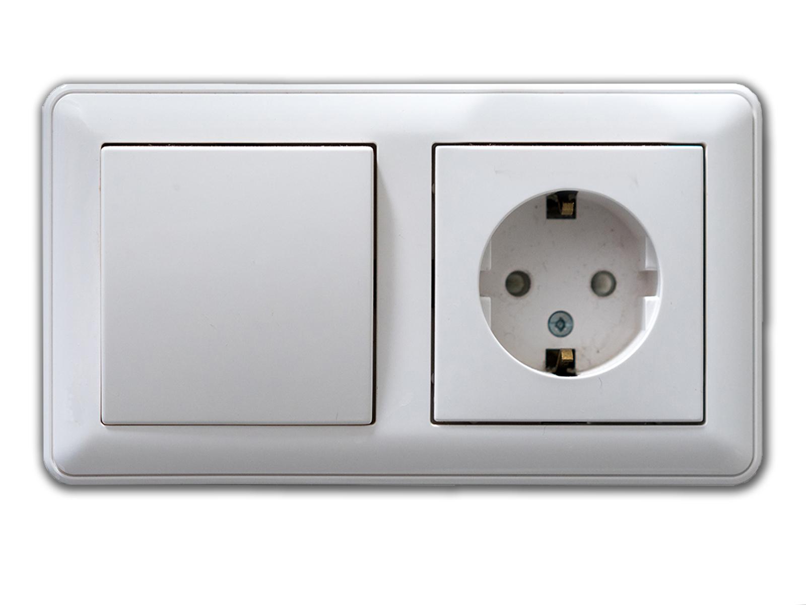 Lichtschalter Steckdose Kombi Aufkleber - FUN Fake täuschend echte Optik ca. 8x15,4 cm