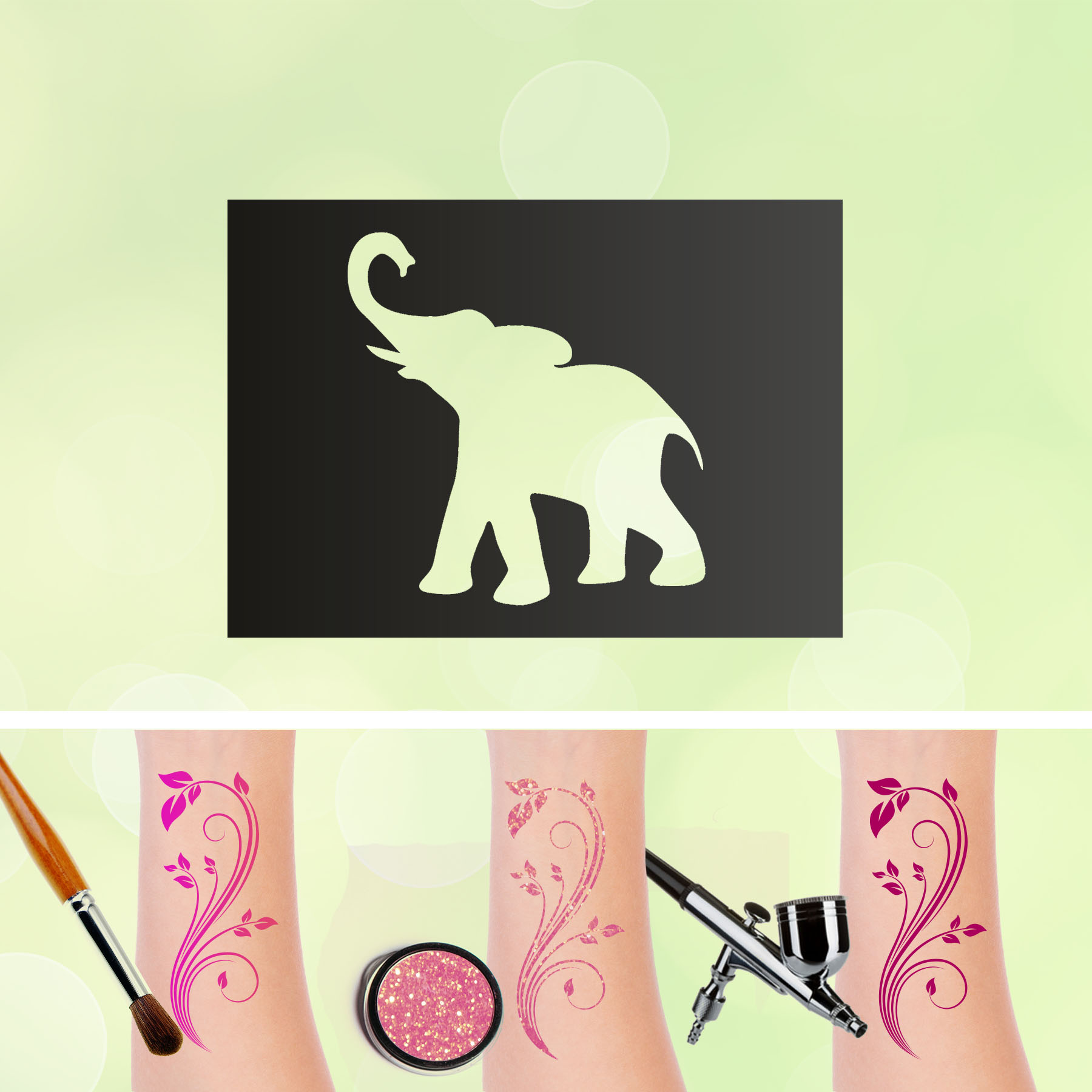 Tattoo Schablonen Elefant Selbstklebend Kinderschminken Airbrush