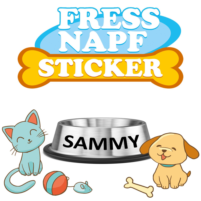 Aufkleber für Fressnapf mit Name Ihres Haustieres Sticker Hund Katze