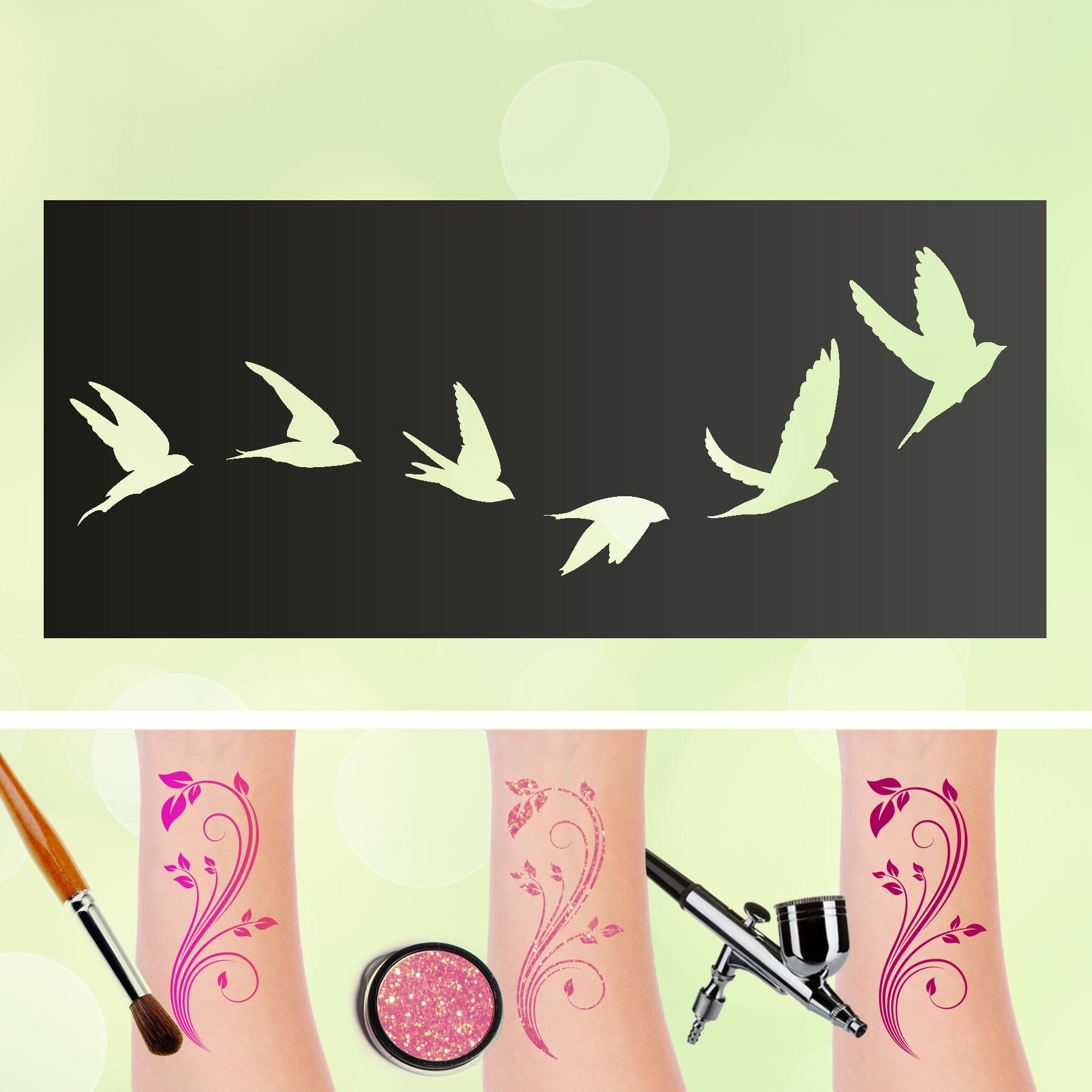 Tattoo Schablonen Tauben Selbstklebend Kinder Schminken Airbrush