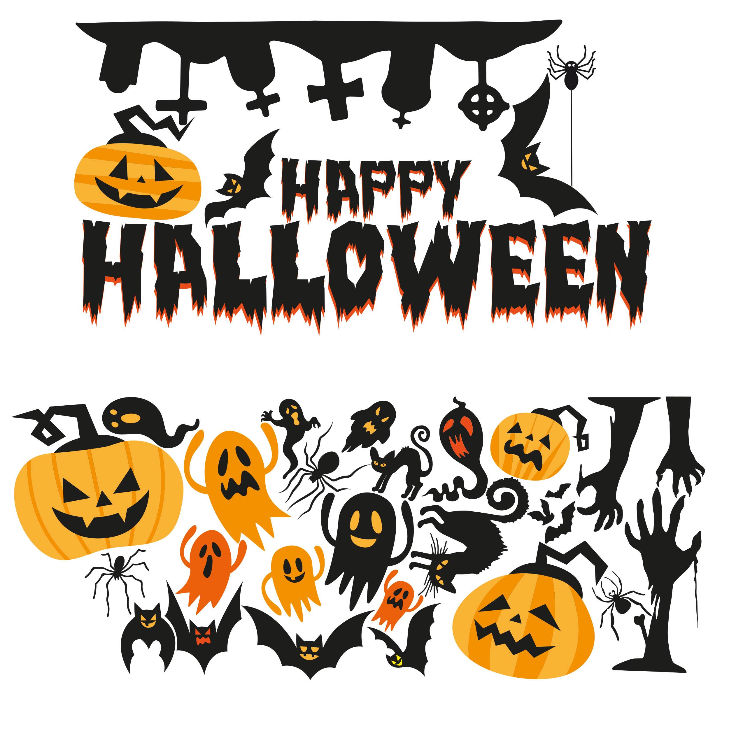 Aufkleber Halloween Set Groß für Fenster Schaufenster Dekoration Gruselig Kürbis Spinne Fledermaus Gespenst