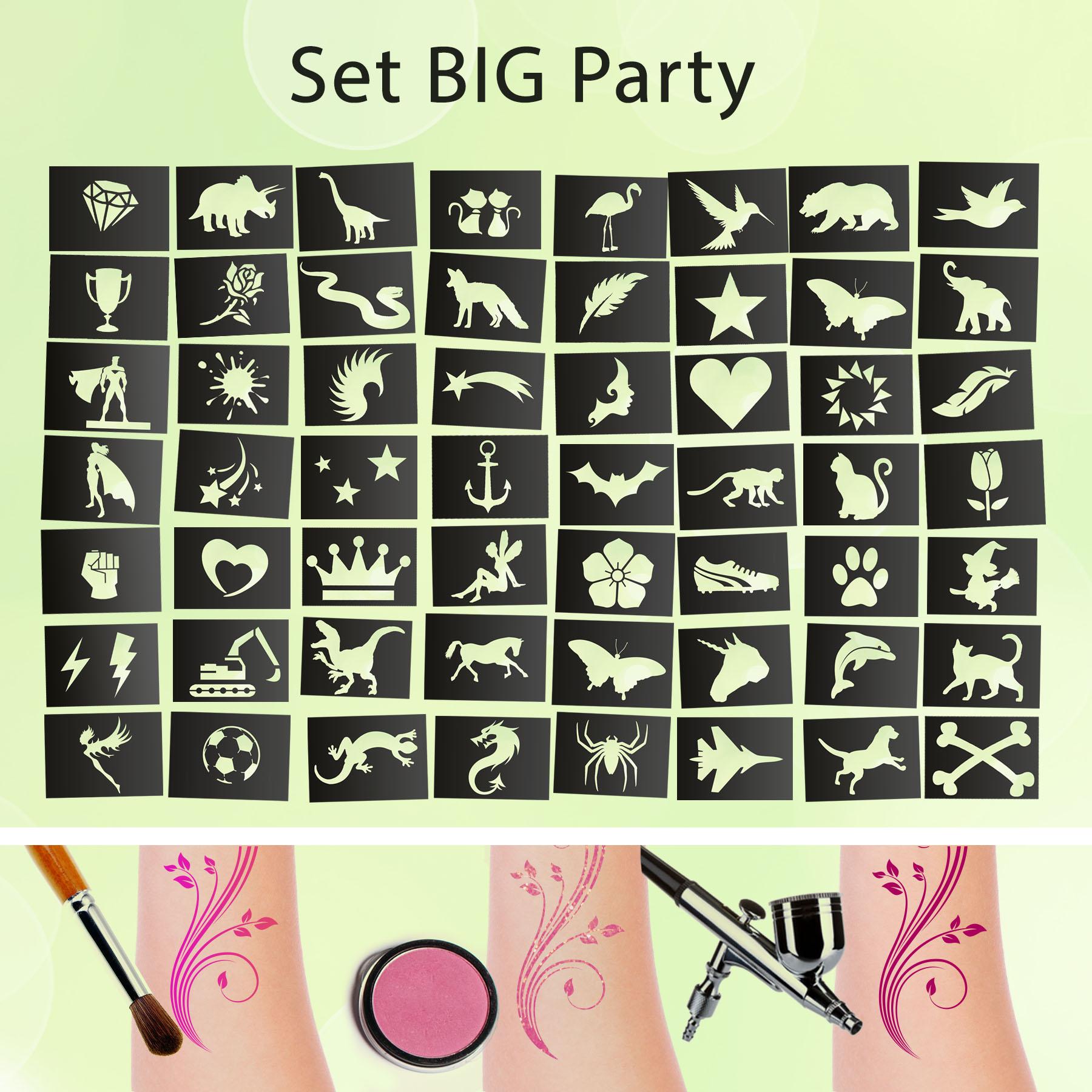 Tattoo Schablonen SET BIG Party (56 Stück) Selbstklebend Kinderschminken Airbrush
