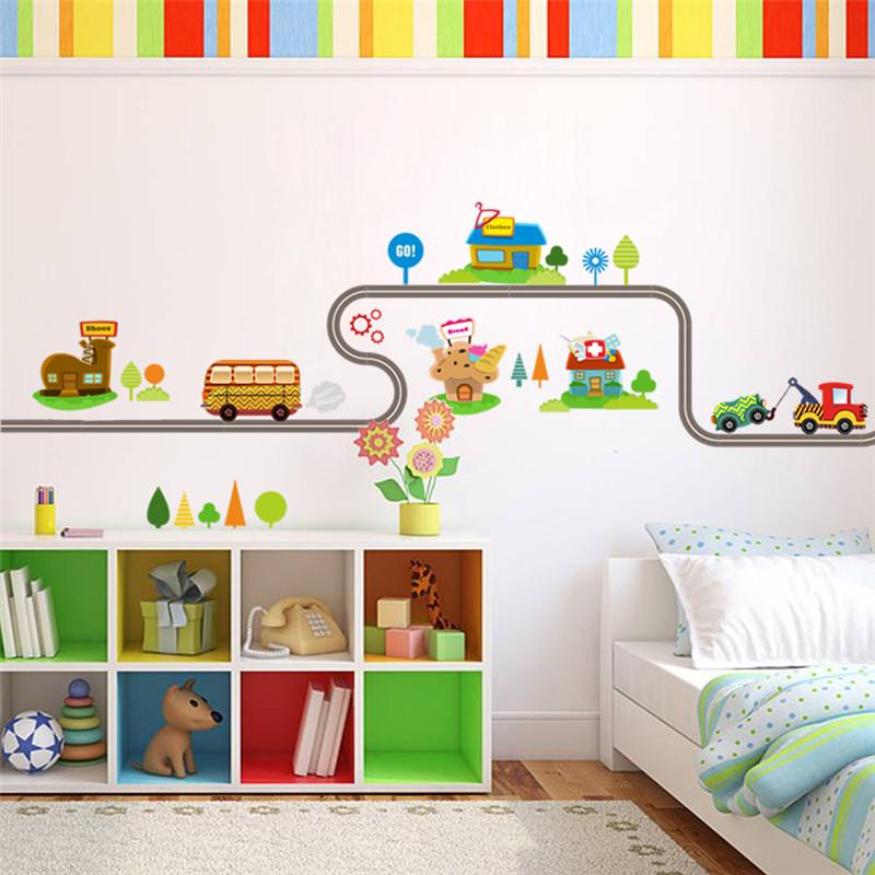 Wandtattoo Kinderzimmer - Autos Straße Fahrzeuge ca. 40 x 147 cm