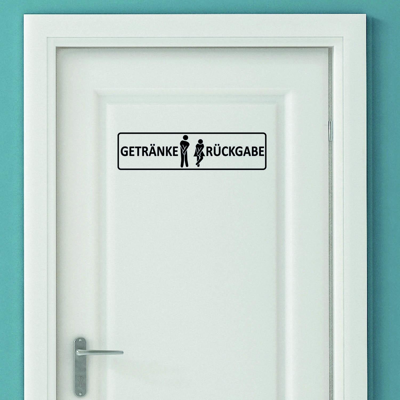 Aufkleber Türaufkleber Bad WC - Getränke Rückgabe Mann Frau Toilette Sticker Schwarz oder Wunschfarb