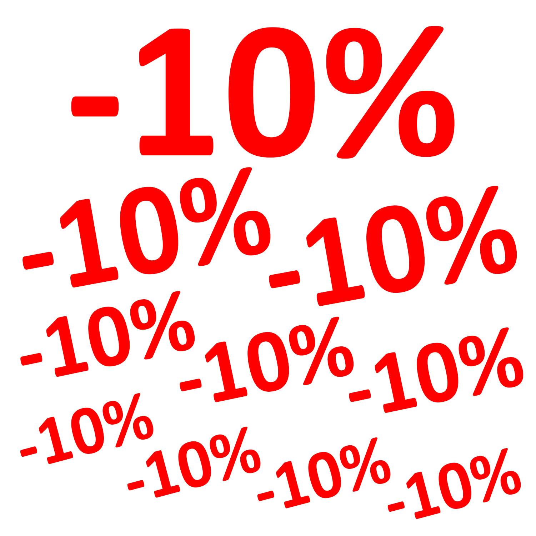 Aufkleber -10% 10er Set Prozent Sale Rabatt Reduziert Schaufenster Preisschild Ausverkauf Rot