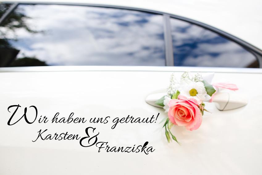 Aufkleber Hochzeit Auto WIR HABEN UNS GETRAUT! mit ihren Namen
