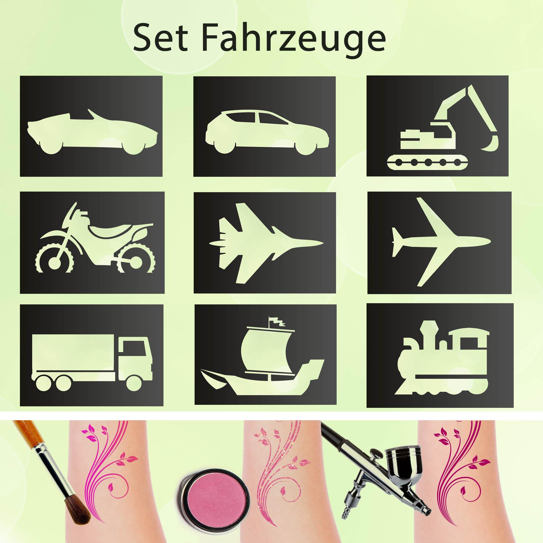 Tattoo Schablonen SET Fahrzeuge (9 Stück) Selbstklebend Kinderschminken Airbrush
