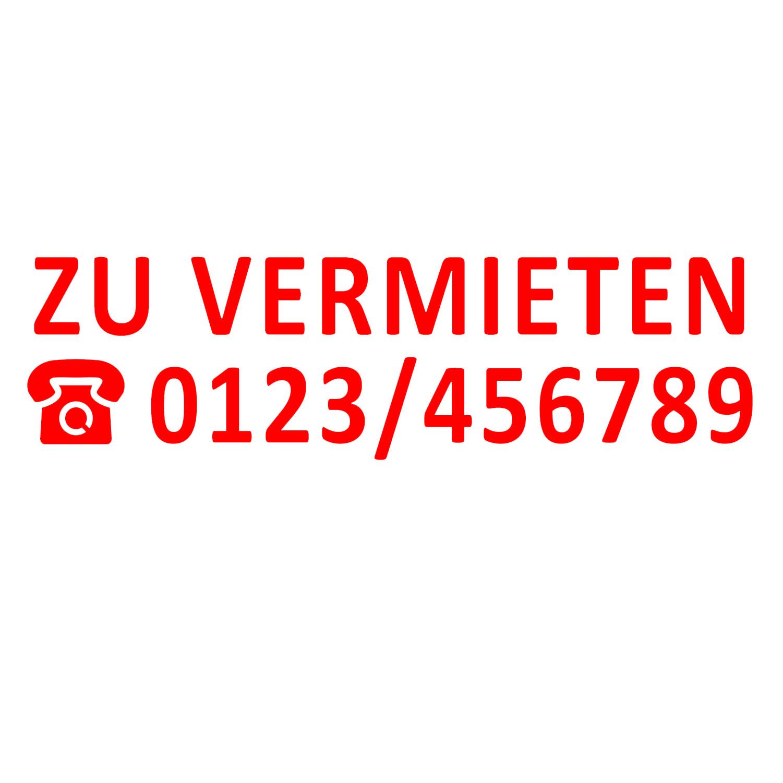 Aufkleber Zu Vermieten mit Telefonnummer ROT verschiedene Größen Haus Makler Schaufenster Wohnung