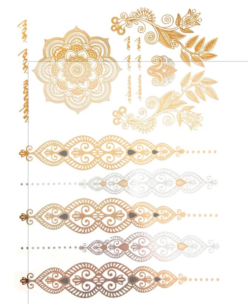 Tattoo Hauttattoo Sommer Set Metallic Look Temporäre Tattoos Goldfolie Silber