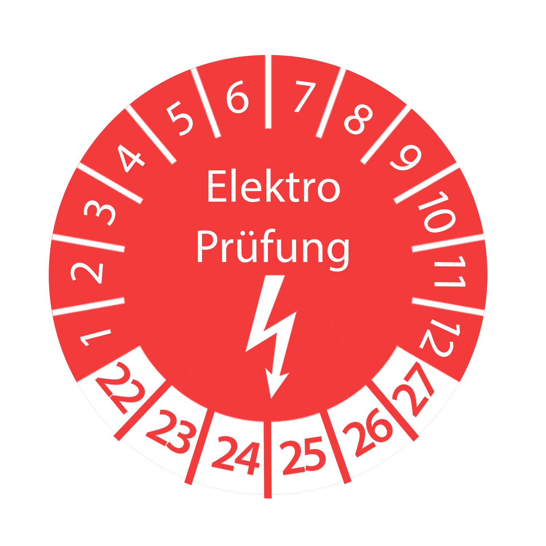 Prüfplakette Elektro Prüfung 2022 - 2027 Ø 30mm Rund Rot Prüfetikett Prüfaufkleber