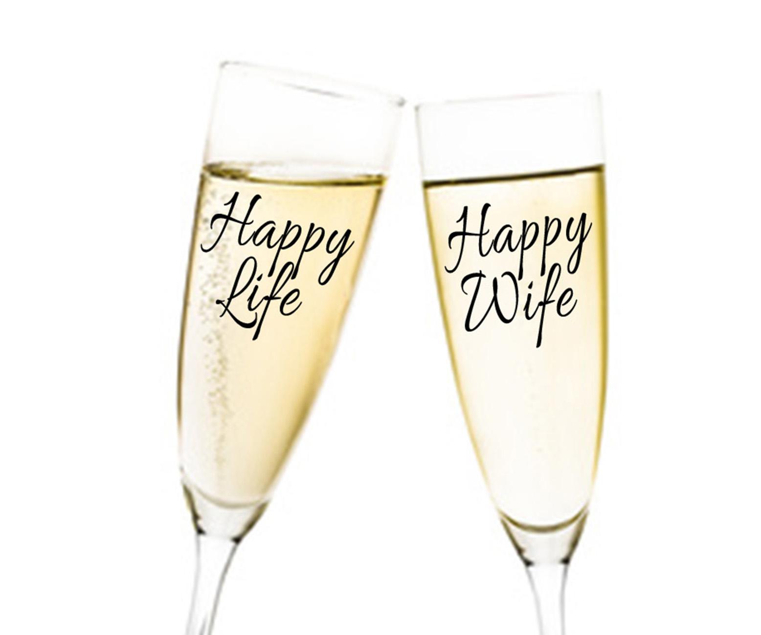 Happy Life Happy Wife Duo 2tlg. Aufkleber Hochzeit für Sektgläser