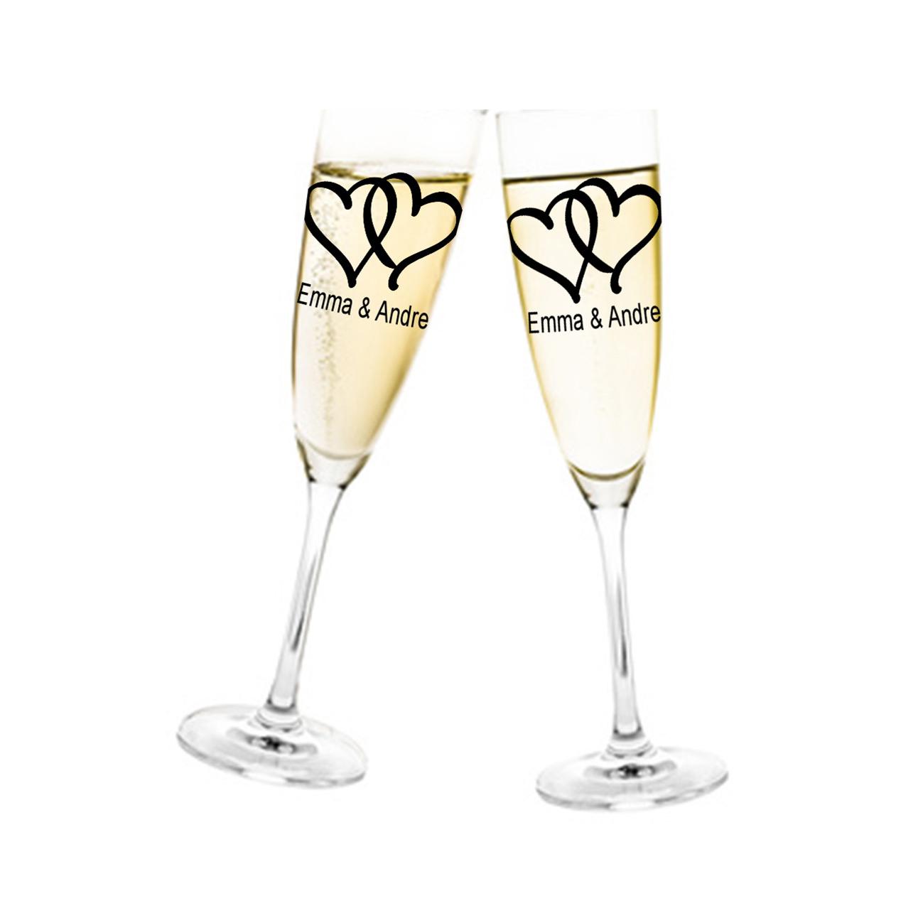 Aufkleber Hochzeit Herzen für Sektglas mit Namen Glasaufkleber für Gläser Selbstklebend