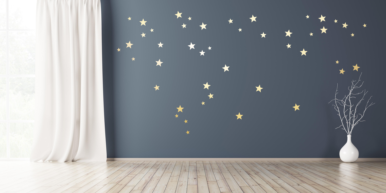 Wandtattoo Sterne 110 Stück Gold Silber oder Kupfer in 3 Größen selbstklebend Wandsticker Aufkleber