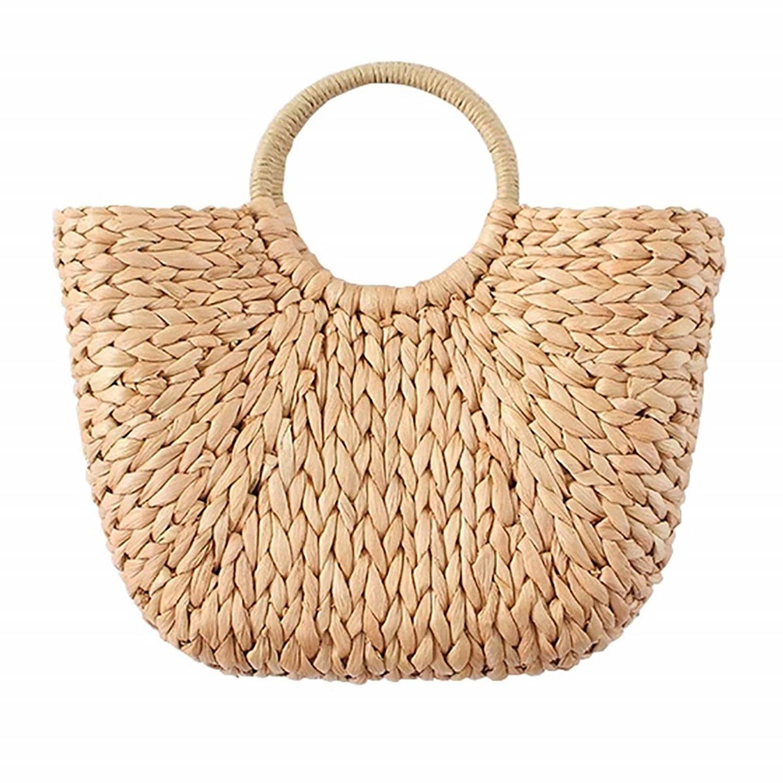 Handtasche Strandtasche Shopper Korbtasche geflochten Halbrund gewebt mit praktischem Zugband