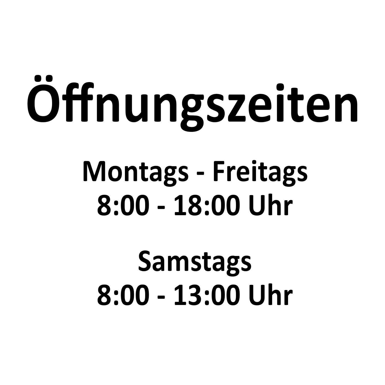 Aufkleber Öffnungszeiten Schild Beschriftung Werbung individuell 12 Farben/4 Größen schwarz