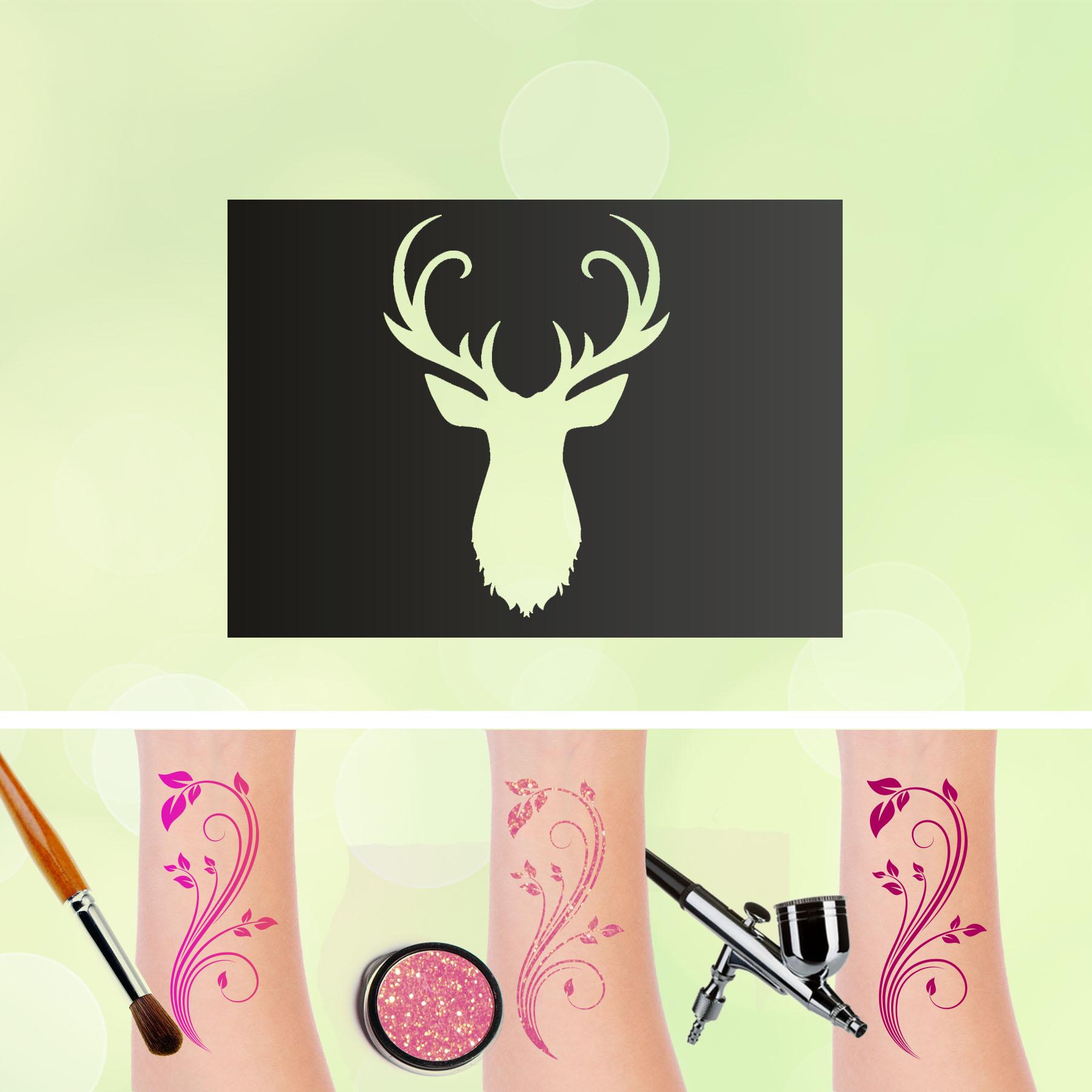 Tattoo Schablonen Hirsch Selbstklebend Kinderschminken Airbrush
