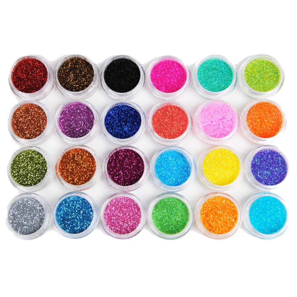 Glitzer Glitzerpulver Glitzer-Staub Glitter für Glitzer Tattoo´s Set 24 Farben