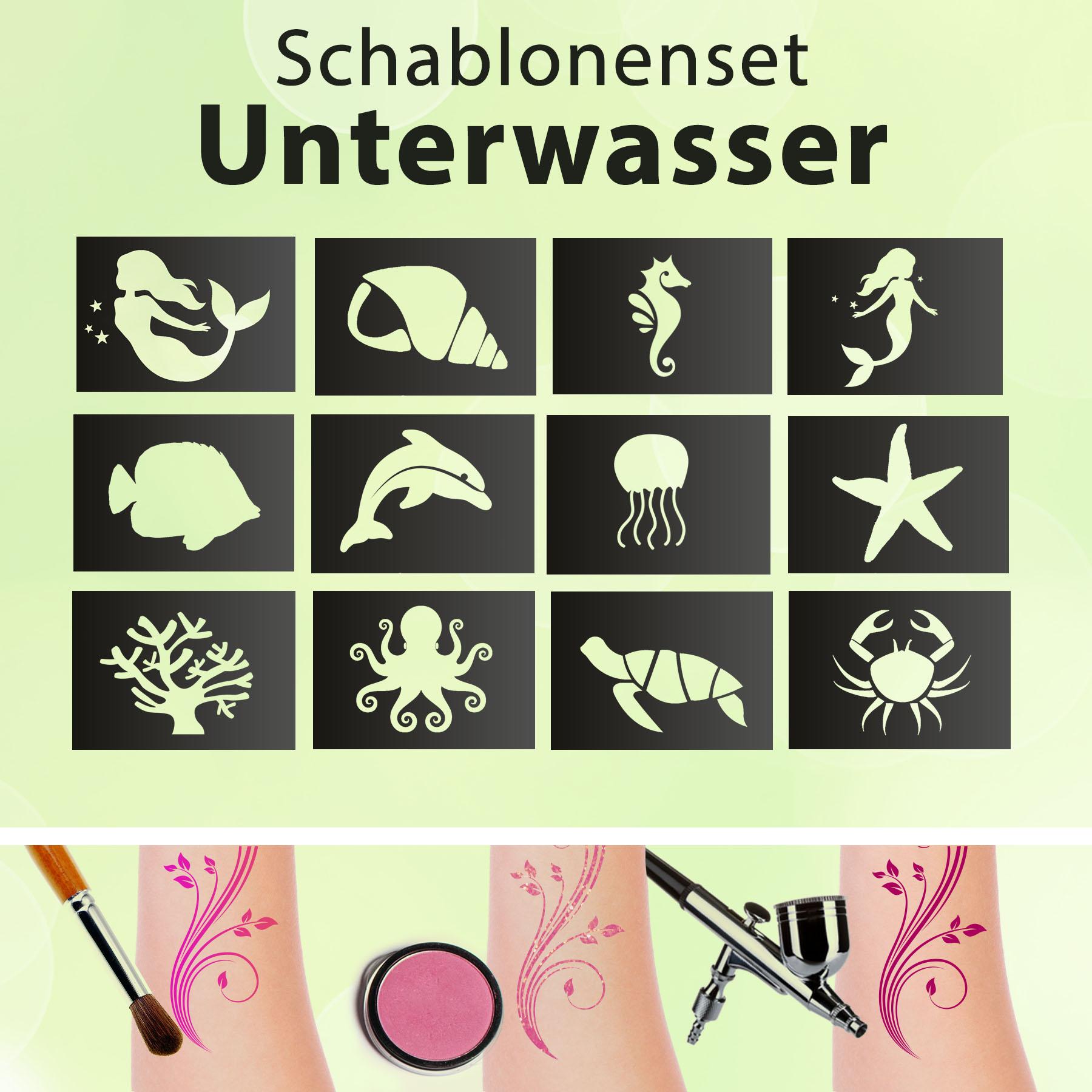 Glitzer Tattoo SET Kinder UNTERWASSER mit Profihautkleber, 2 Pinsel, 4xGlitzer, 12 Schablonen