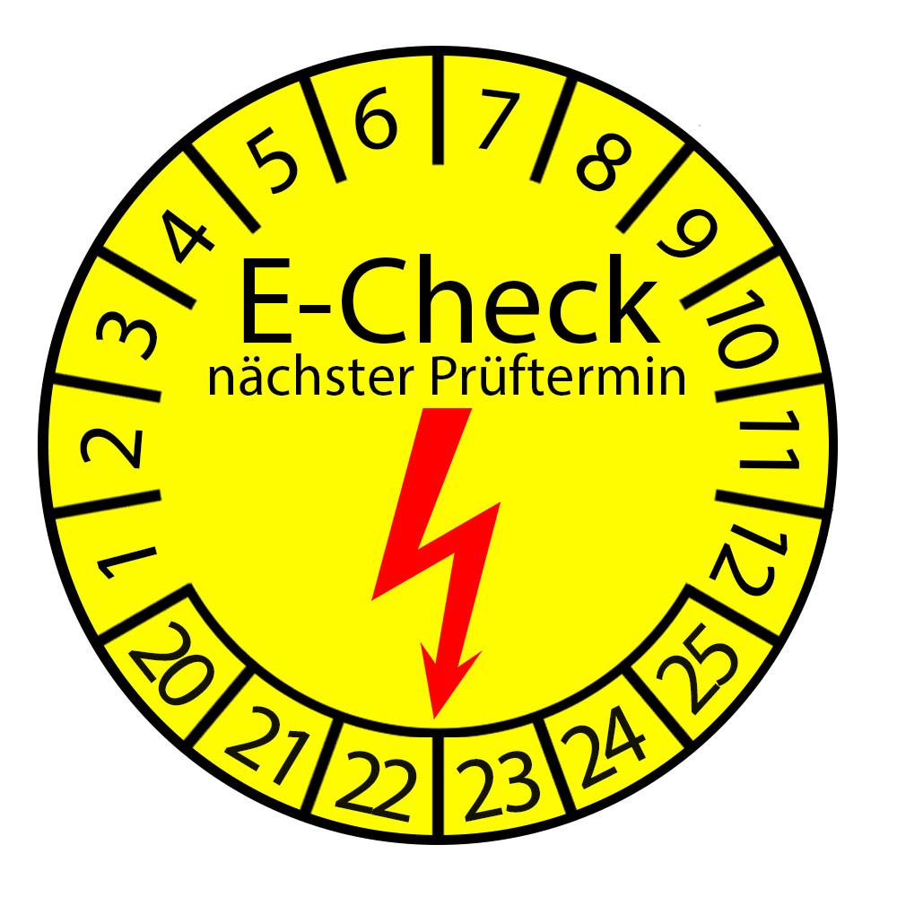 Prüfplakette 3cm rund - E-Check nächster Prüftermin 2020-2025