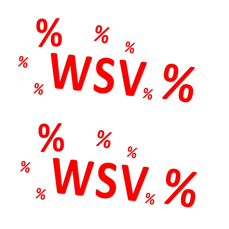 Aufkleber WSV % Winterschlussverkauf ROT 2 Stück verschiedene Größen Einzelhandel Ausverkauf Rabatt