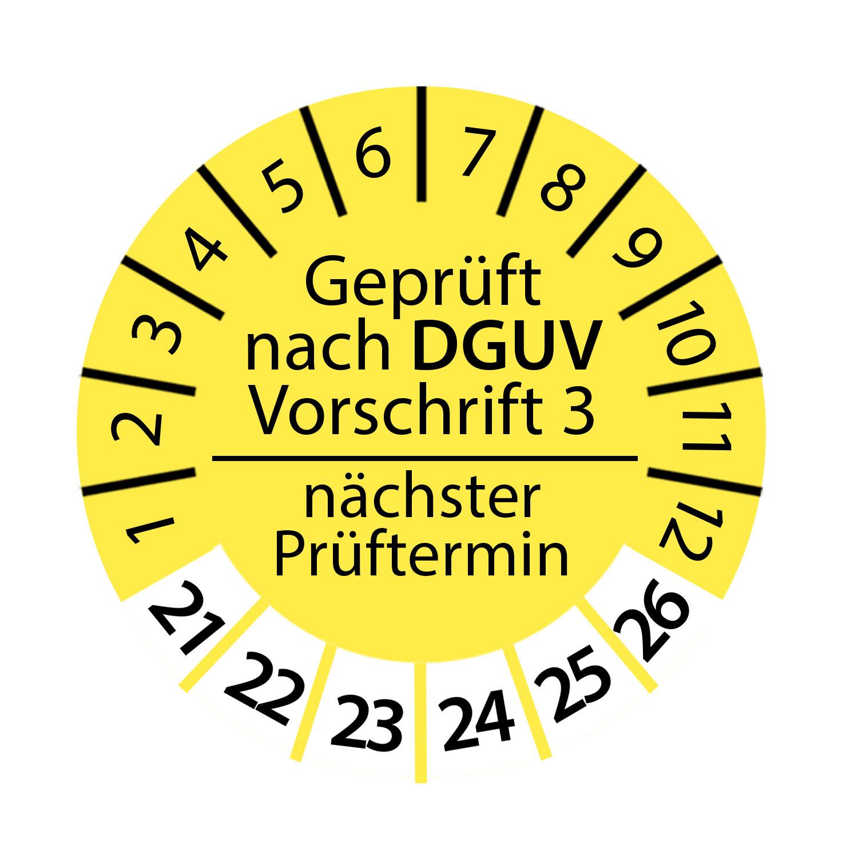 Prüfplakette DGUV Vorschrift 3 2021 - 2026 nächster Prüftermin Ø 2-3 cm Rund Geprüft nach DGUV Gelb