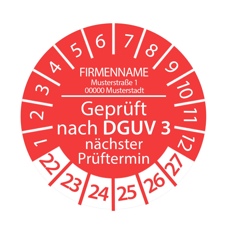 Prüfplakette Geprüft nach DGUV 3 mit Firmenname 2022 - 2027 Ø 2-3cm Rot Individuell Wunschtext
