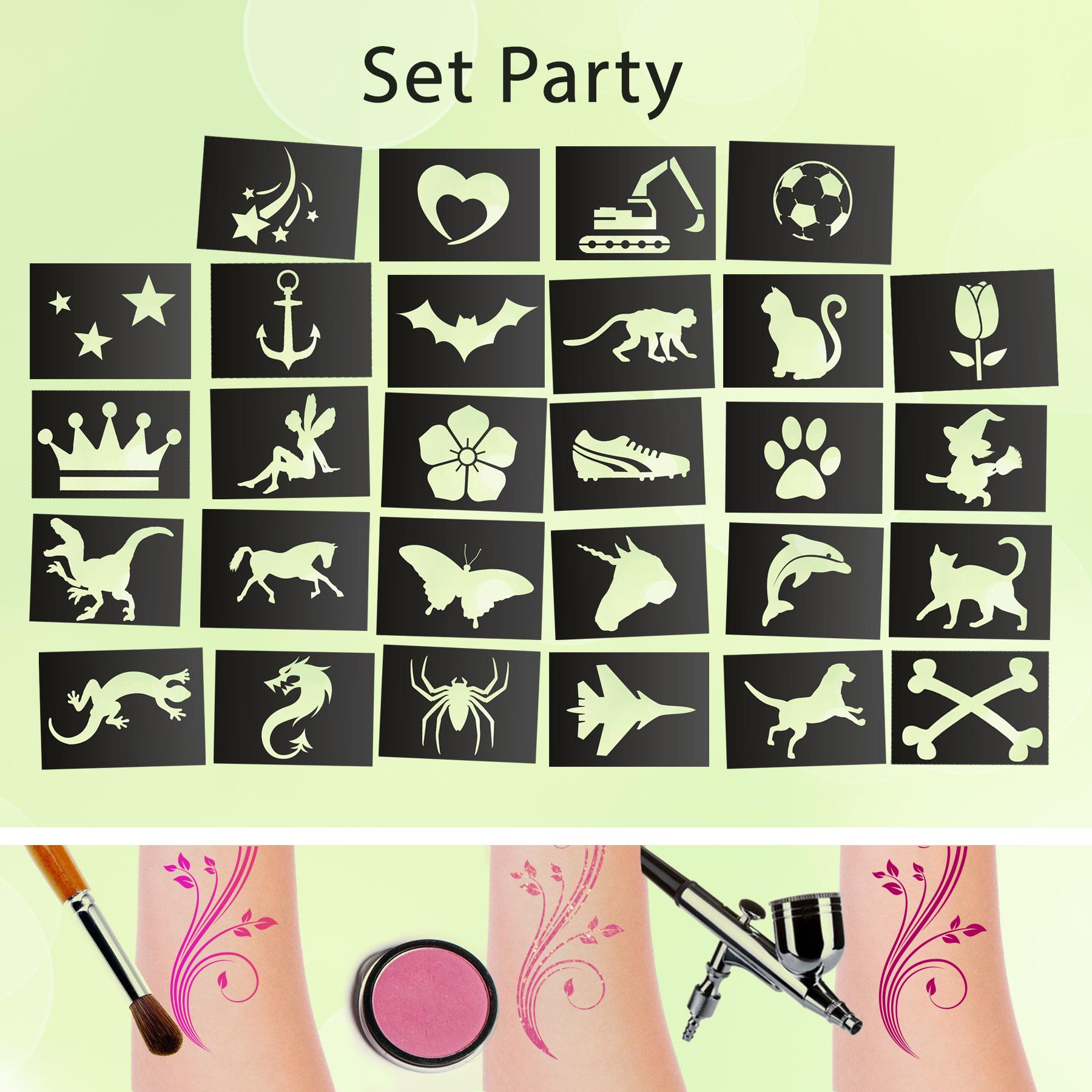 Glitzer Tattoo SET PARTY mit Profikleber, 2x Pinsel, 10x Glitzer, 28x Tattooschablone
