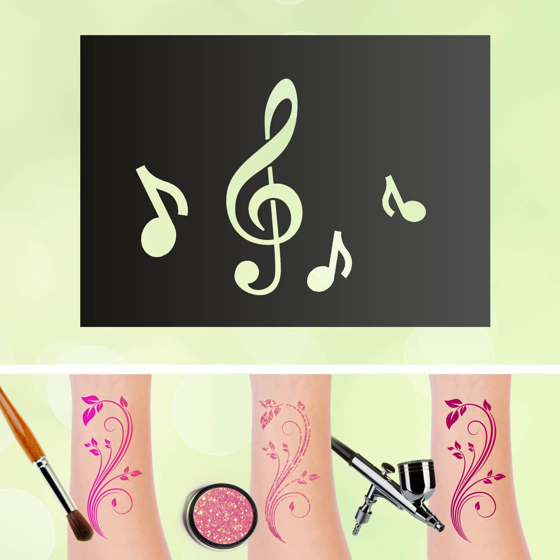 Tattoo Schablonen Notenschlüssel Selbstklebend Kinderschminken Airbrush