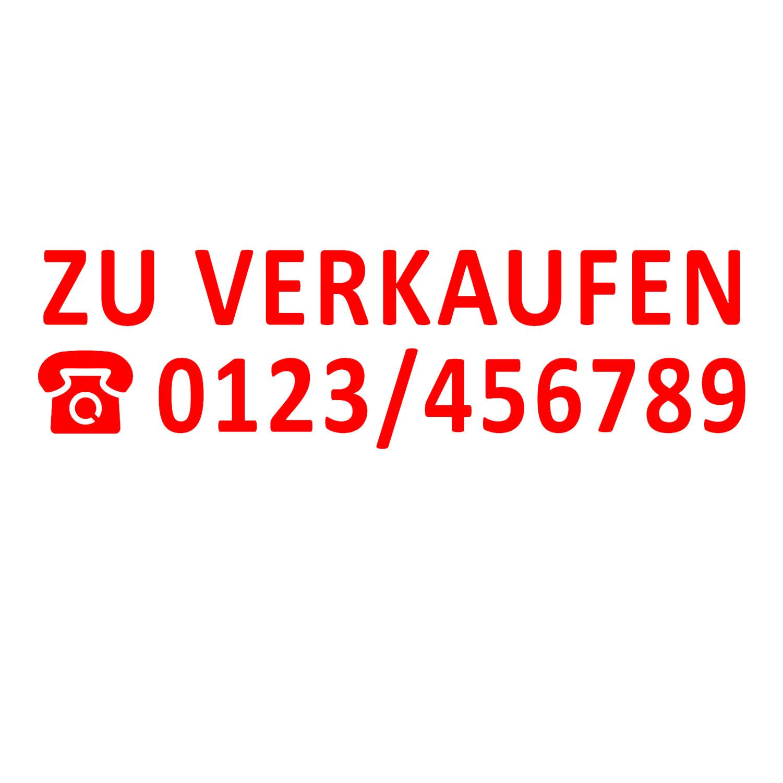 Aufkleber - ZU VERKAUFEN mit TELEFONNUMMER Schaufenster Makler Immobilien Autos
